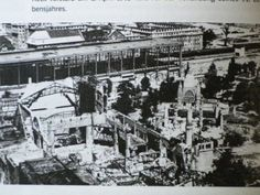 Another photo of the ruined zoo following the 1943 raids. The train station is in the background and the Elephant House is just right of center.