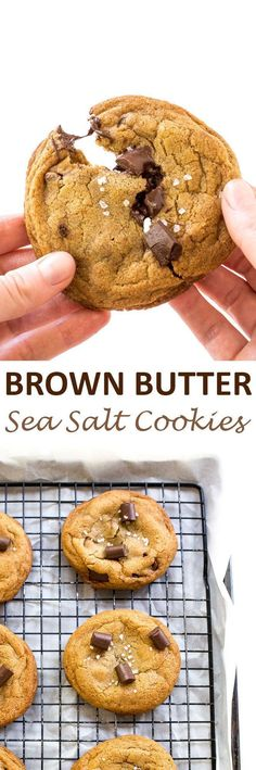 The BEST Brown Butter Salted Chocolate Chip Cookies. Soft and chewy cookies loaded with chocolate chunks and sprinkled with sea salt! | chefsavvy.com #recipe #cookies #dessert #chocolate #sea #salt