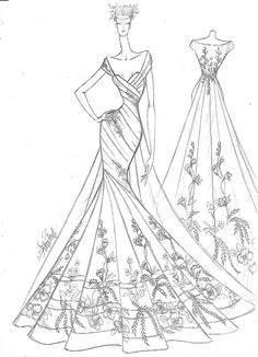 Collection of Wedding Dresses made for Arushi couture Fashion Figure Drawing, Fashion Model Drawing, Fashion Design Drawings, Fashion Illustration Sketches, Fashion Sketches, Illustration Art, Illustrations, Barbie Wedding Dress, Wedding Dresses