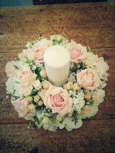 Candle wreath arrangement