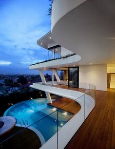 Luxurious Modern Architecture..love the flooring with the white.