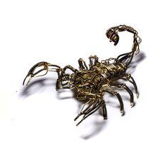 Steampunk Scorpion clockwork Robot Sculpture - Copper Brass and old Watch movement - OOAK