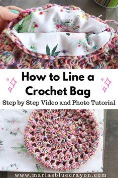 How to Add a Lining to a Crochet Bag - Maria's Blue Crayon - Stricken anleitungen,Stricken einfach,Stricken ideen,Stricken tiere,Stricken strickjacke Crochet Diy, Free Crochet Bag, Crochet Motifs, Crochet Crafts, Crochet Projects, Crochet Patterns, Crochet Bags, Crochet Bag Tutorials, Crochet With Fabric