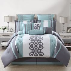 Kerri 10-Piece Comforter Set in Teal/Silver/White ($90) ❤ liked on Polyvore featuring home, bed & bath, bedding, comforters, california king size comforter set, white queen comforter, california king comforter, california king size comforter and cal king comforter set