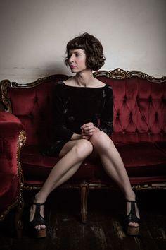 Megan von de vintage shoot by Peter Berzanskis Bangs, Melbourne, Editorial, Bob, Velvet, Couch, Photoshoot, Shoes, Vintage