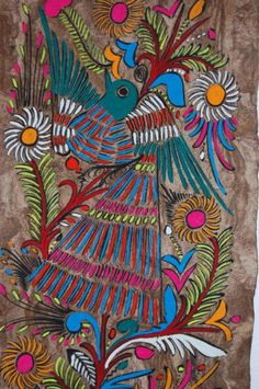 folk art painting vintage Amate bark painting by NayaStudio