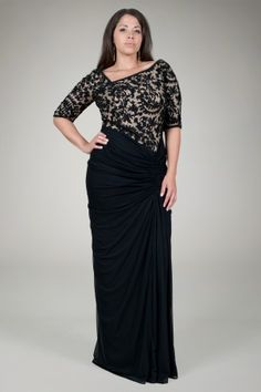 Embroidered Lace Asymmetric Gown in Black / Nude - Plus Size Evening Shop | Tadashi Shoji