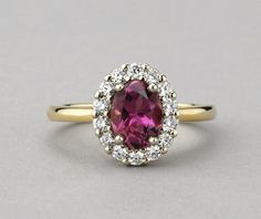 Pink Maine Tourmaline & Diamond Ring - halo design in 14K yellow and white gold