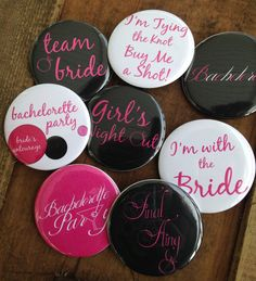 SET OF 8 Bachelorette Party Buttons  Pins Hens by DeighanDesign #Craftshout #Weddings