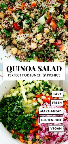 This quinoa salad recipe is the BEST! Everyone loves this healthy quinoa salad made with quinoa, chickpeas, red bell pepper, cucumber, parsley and lemon. It's gluten free and vegan for all to enjoy. recipes Favorite Quinoa Salad Recipe - Cookie and Kate Best Quinoa Salad Recipes, Vegetarian Recipes, Cooking Recipes, Gluten Free Chicken Salad Recipe, Veggie Salads Recipes, Simple Salad Recipes, Best Healthy Recipes, Salad Recipes Gluten Free, Vegan Recipes
