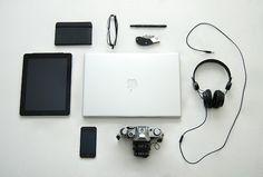 Mens travel essentials. Technology.
