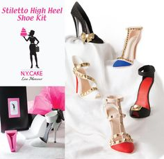 Make your own Edible Fondant or Gumpaste Shoe with our NY CAKE Stiletto High Heel Shoe Kit. Edible Bling Acessories quickly add studs, brooches & medalions.