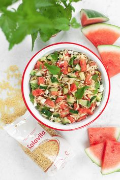 Watermelon, plus mint, plus orzo? Sounds like an incredible combination for a pasta salad! This watermelon orzo salad also features pistachios and our balsamic vinegar for an extra kick of flavor. Balsamic Vinegar, Balsamic Glaze, Pasta Recipes, Vegan Recipes, How To Cook Orzo, Healthy Salads, Healthy Eats, Orzo Salad, Fourth Of July Food