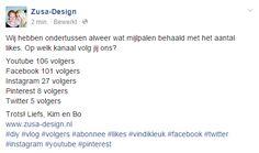 ZUSA-DESIGN | Trots op www.zusa-design.nl #diy #vlog #volgers #abonnee #likes #vindikleuk #facebook #twitter #instagram #youtube #pinterest
