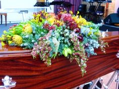 Native casket design #sympathyflowers #floraltribute. F39 Casket Flowers, Casket Sprays, Sympathy Flowers, Funeral, Nativity, How To Memorize Things, Lettering, Plants, Beautiful