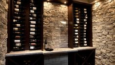 Wine Tasting Room Design Furniture: Wine Storage Design Ideas With Stone Wall, Wooden Wine