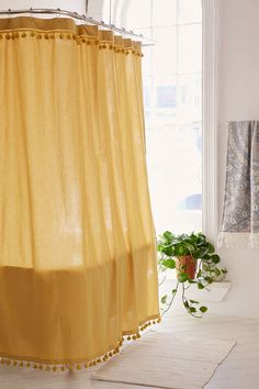Magical Thinking Pompom Shower Curtain - Urban Outfitters The Most Useful Bathroom Shower Ideas Ther Yellow Shower Curtains, Bathroom Shower Curtains, Shower Curtain Boho, Shower Tiles, Colorful Shower Curtain, Houses Architecture, Do It Yourself Decoration, Rustic Wall Mirrors, Boho Bathroom
