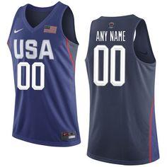 4b9f5dce0a6 USA Basketball Nike Replica Custom Jersey - Royal Usa Hockey