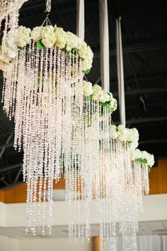 Wedding flower chandeliers.
