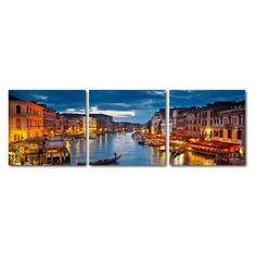 Wholesale Interiors Baxton Studio Early Evening Venetian Canal 3 Piece Framed Photographic Print on Wrapped Canvas Set