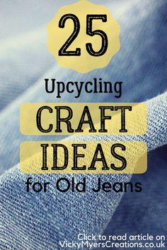 25 Upcycling Craft Ideas for Old Jeans - If you have a bunch of old jeans laying around your closet, don Sewing Tutorials, Sewing Projects, Craft Projects, Craft Ideas, Upcycling Projects, Repurposing, Sewing Ideas, Diy Ideas, Diy Messenger Bag