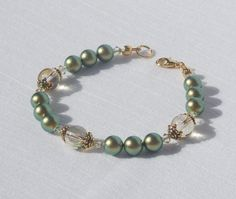 Swarovski green pearl and crystal bracelet by ParkhillDesigns on Etsy
