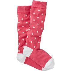 Pitter Pattern Knee Socks ($14) ❤ liked on Polyvore featuring intimates, hosiery, socks, long socks, polka dot knee high socks, print socks, patterned hosiery and long knee high socks