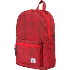 Herschel Supply Co. Settlement Mid-Volume Laptop Backpack ($44) ❤ liked on Polyvore featuring bags, backpacks, laptop backpacks, red, red laptop bag, pocket backpack, knapsack bags and laptop pocket backpack