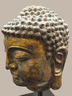 "Buddha Head - AM.0431 Origin: Thailand Circa: 18 th Century AD to 19 th Century AD Dimensions: 19"" (48.3cm) high Collection: Asian Art Medium: Wood"