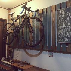 mohyuさんの、手作り,杉板,ディアウォール,2×4材,ロードバイク,自転車,自転車壁掛け,壁/天井,のお部屋写真