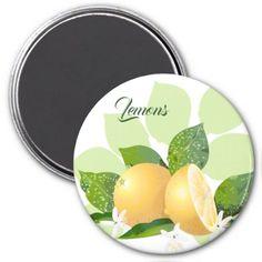 Lemons Fruit Citrus Flowers Les Citrons Magnet - flowers floral flower design unique style