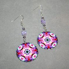 Rose Earrings Silver Dangle Boho Mandala New Age by melbecreations