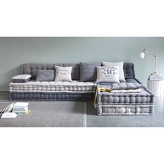 Modulare 6-Sitzer Eckpolsterbank aus Baumwolle, grau
