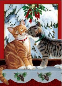 11268 Christmas Cards~Kitten Kiss - 6 Tree Free Christmas Greeting Cards~By Folio Gothic Hippy