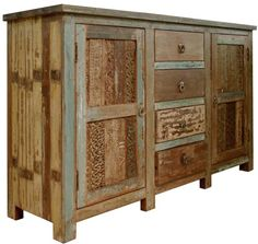 Old Wood Rustic Buffet Western Cabinets and Buffets - Vintage reclaimed and restored teak planks and old wood sourced from old buildings and ship yards are used to create this unique rustic buffet.