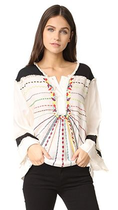 Vibrant embroidery accents the front of this breezy, colorblocked Antik Batik blouse. Soft fringe accents the yoke and partial button placket. Alice Mccall, Diane Von Furstenberg, Balmain, Loose Tops, Cut Loose, Embroidery On Clothes, Color Beige, Blouses For Women, Women's Blouses