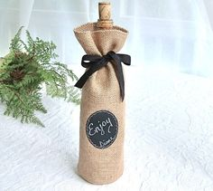 "Jute Wine Bottle Gift Bag with Chalk Cloth Label to Customize - 12"" tall"