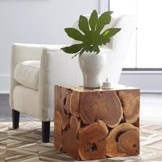 Teak Cube Side Table Artisans hand-carve preserved teak root into a work of art. Our Teak Cube Side Table functions as a side table or fit four together to create a coffee table. Decor, Traditional Furniture, Teak Furniture, Table, Side Table Wood, Cube Coffee Table, Ottoman Coffee Table, Cube Side Table, Living Room Wood