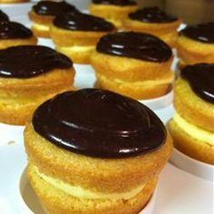 "Boston Cream Pie Minis | ""I loved these cute little things! I made them in mini muffin tins. Perfect for a dessert bar where people will be trying different sweets."" -Paula"
