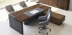 The project's strength lies in its thick planes, joinery between planes and the vertical and horizontal overhangs: Jera by Las Mobili, buy online from Italy. Modern Executive Desk, Executive Office Furniture, Executive Room, Modern Office Desk, Office Table Design, Office Furniture Design, Design Ideas, Business, Awesome