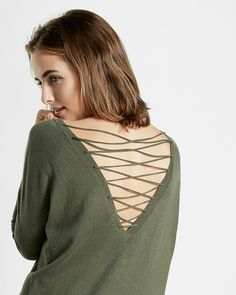 lace-up back circle hem sweater