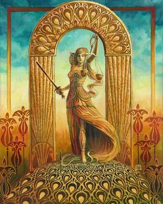 Justice Tarot Mythological Goddess Art Deco 11x14 por EmilyBalivet