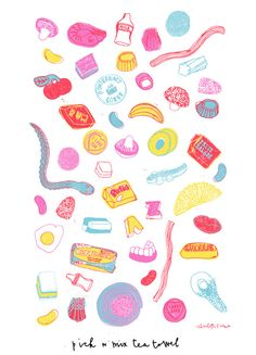 Pick N Mix Tea Towel by Charlotte Farmer