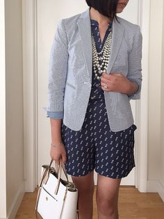 #OOTD: @anntaylorstyle  Printed Romper + Seersucker Jacket (review and full outfit details on www.whatjesswore.com)