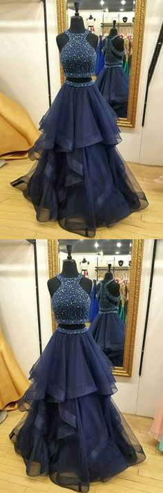 Elegant Prom Dresses, Crystals Ruffles Zipper Sleeveless Formal Dress Jewel Modest Two Piece Prom Dress Shop for La Femme prom dresses. Elegant long designer gowns, sexy cocktail dresses, short semi-formal dresses, and party dresses. Prom Dresses Two Piece, Prom Dresses 2017, A Line Prom Dresses, Modest Dresses, Elegant Dresses, Nice Dresses, Dress Long, Dress Prom, Formal Dress