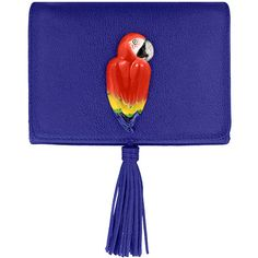Nach bijoux blue clutch bag with red parrot (€360) ❤ liked on Polyvore featuring bags, handbags, clutches, red handbags, chain purse, red purse, animal handbags and blue purse