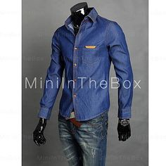 [EUR € 39.55]  - Causal mince chemise en jean pour hommes