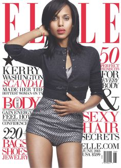 Scandal and Django Unchained star Kerry Washington is Elle Magazine's June cover girl. Fashion Magazine Cover, Fashion Cover, Fashion Shoot, Love Fashion, Fashion Trends, Magazine Covers, Fashion Beauty, Ladies Fashion, Runway Fashion