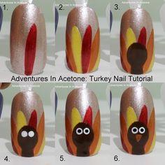 thanksgiving nail art, thanksgiving turkey, nail art tutorials, nail polish, nail arts, nail tutorials, fall holidays, the holiday, thanksgiving nails