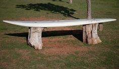 would make a great outdoor bar @ shack. surfboard bench - Google ...